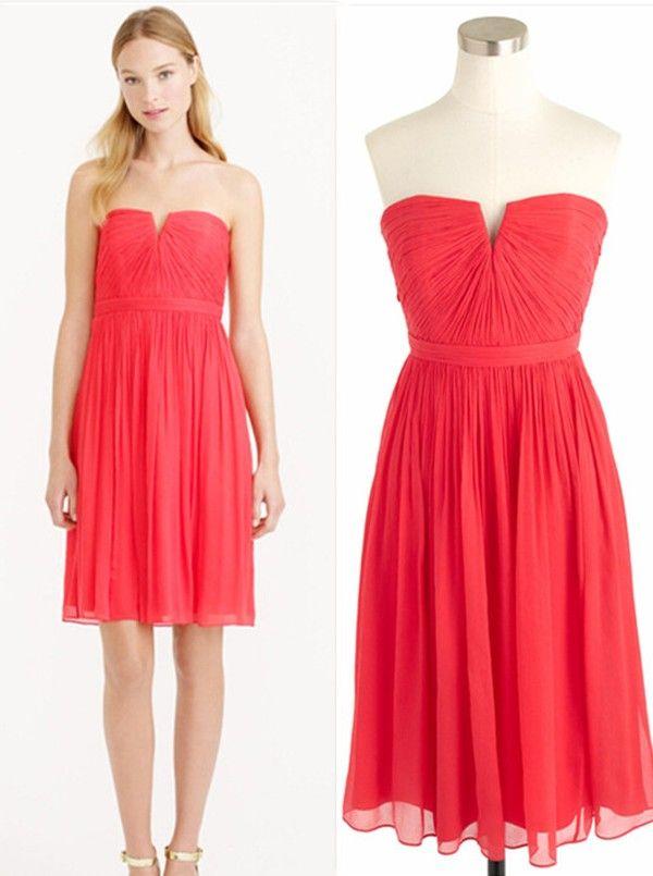 watermelon short strapless bridesmaid dress
