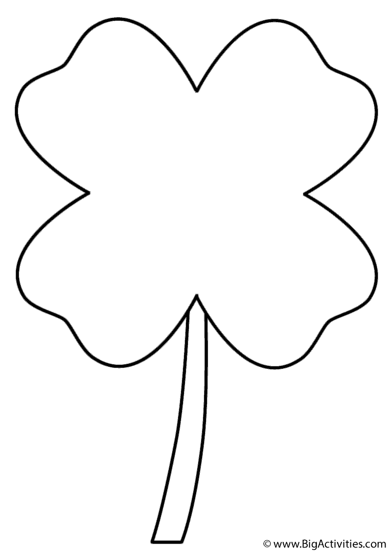 Four Leaf Clover Coloring Page St Patrick S Day In 2021 Coloring Pages Free Printable Coloring Pages Printable Coloring