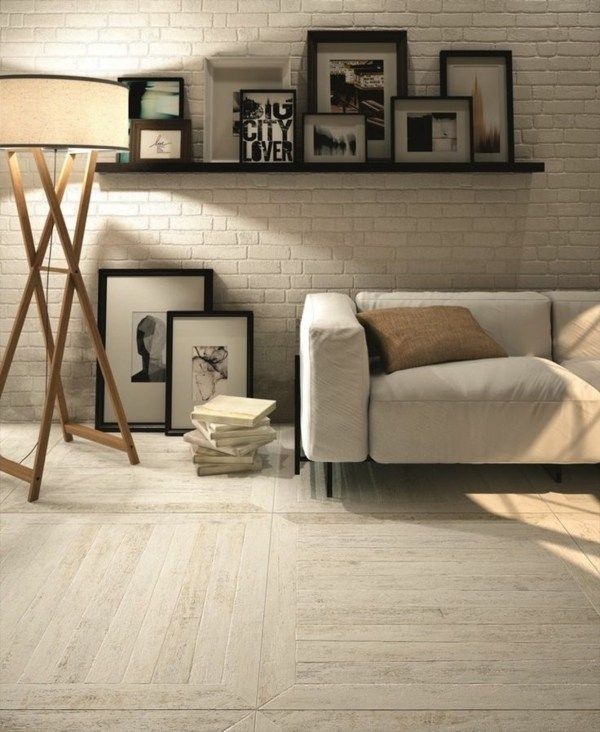 Parallel Würfel Parkett helles Holz Ziegelwand Wand Pinterest - wohnzimmer modern parkett