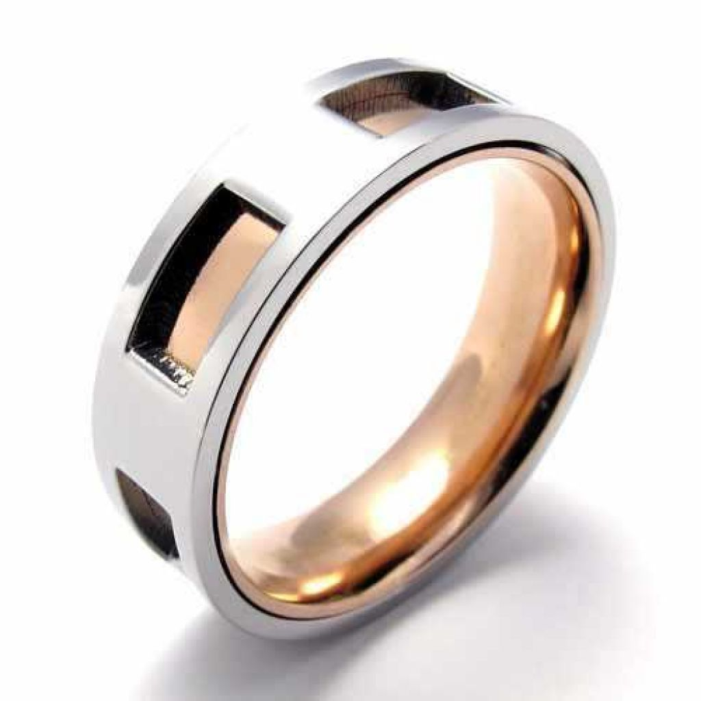 Rings Silver Rose Gold Circle Square Hole Men Rings Wedding Engagement