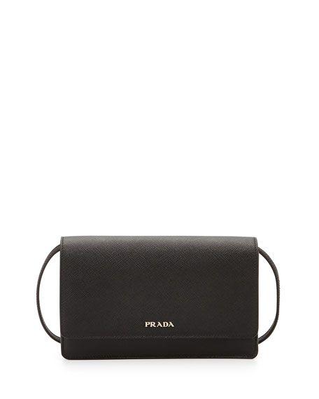 11a4addf9b8f85 PRADA Saffiano Lux Mini Crossbody Bag, Black (Nero). #prada #bags #shoulder  bags #leather #crossbody #lining #