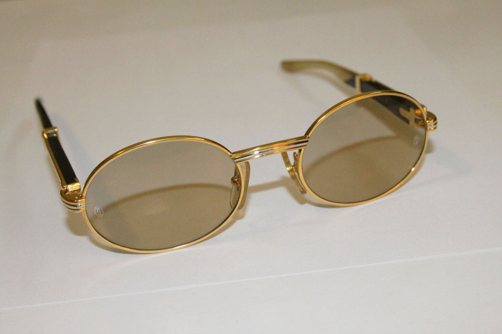 Cartier Gold And Wood Sunglasses Natural In