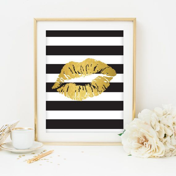 black white and gold print printable art dorm room decoration bedroom decor home decor lips print kiss print black and white stripes print