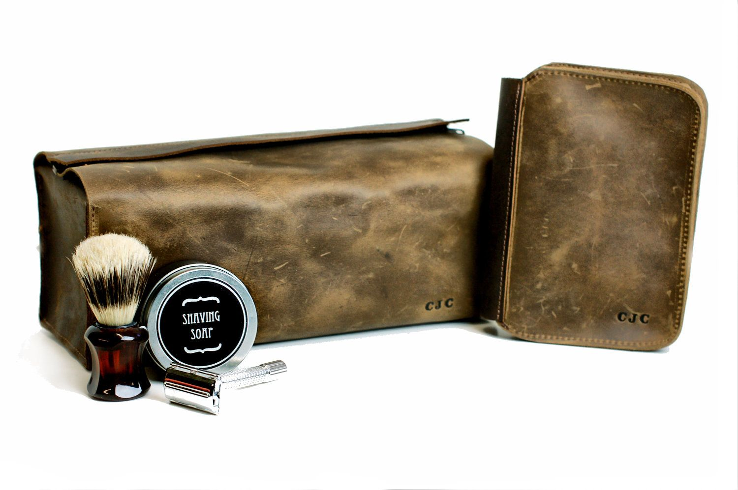 Men S Gift Set Leather Toiletry Bag And Shaving By Divinadenuevo 300 00