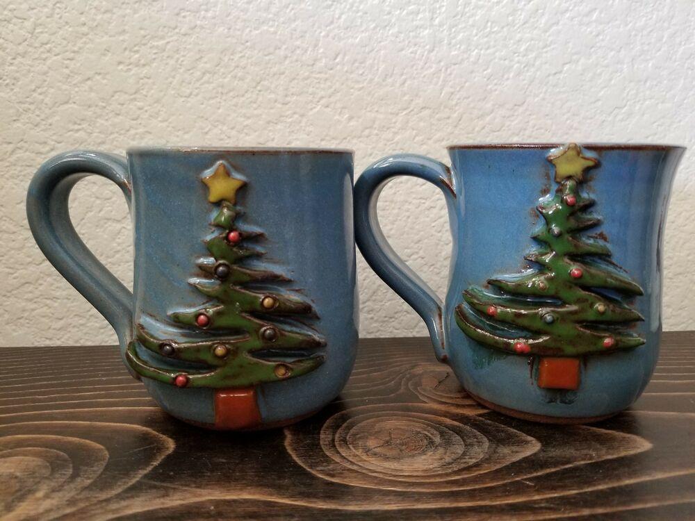 Mudworks Pottery Christmas Tree Coffee Tea Mug Cup Blue Green Stoneware Pair Usa Mudworks Christmas Mugs Pottery Barn Christmas Blue Coffee Mugs