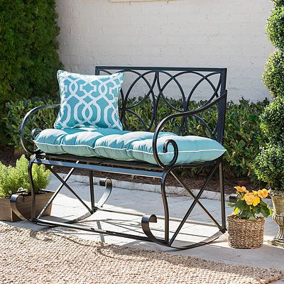Black Infinity Circles Outdoor Metal Bench Rocker
