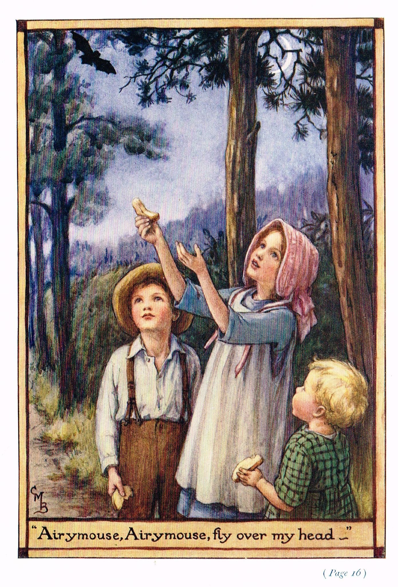 """Cicely Mary Barker Print - """"""""AIRYMOUSE, AIRYMOUSE, FLY OVER MY HEAD"""""""" - Offset Lithograph - c1930"""
