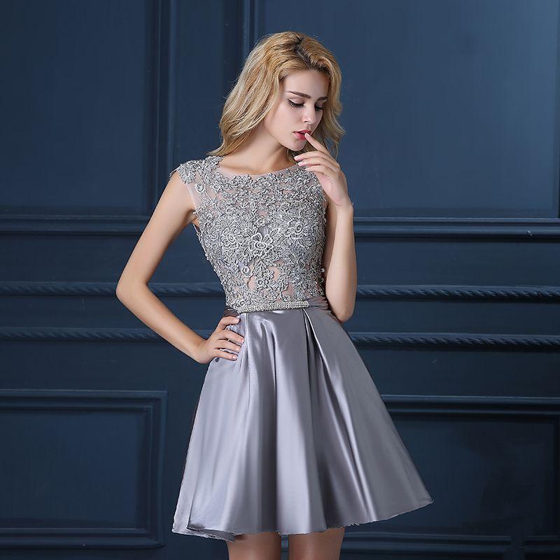 Imagen relacionada   vestidos   Pinterest   Silver cocktail dress ...