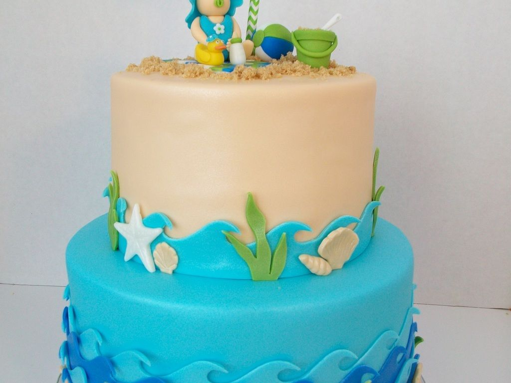 Baby Shower Cakes Beach Theme ~ Beach theme baby shower cake girl birthday pinterest shower