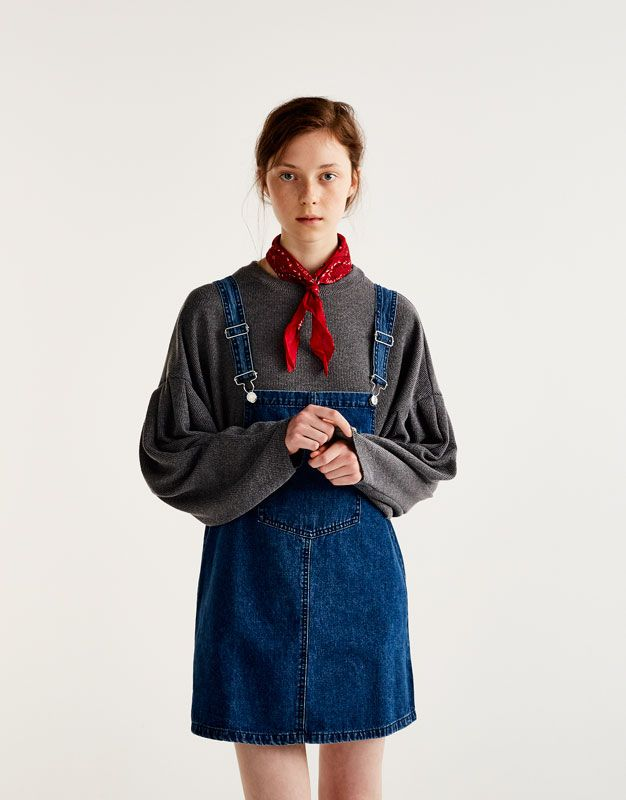 23ae4feec6f Denim pinafore dress with front pocket - Dresses - Clothing - Woman -  PULL BEAR Indonesia