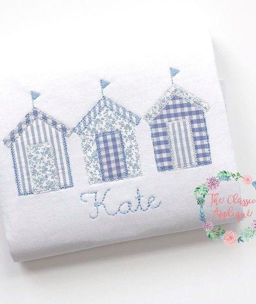 Beach Hut Machine Embroidery Design: Summer Beach Hut Blanket Stitch Trio Applique