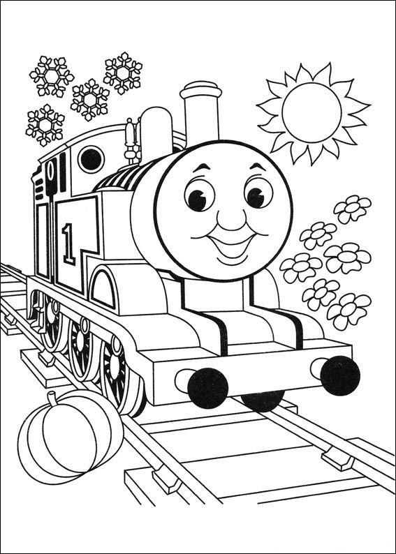 coloring page Thomas the Train - Thomas the Train....blown up on the ...