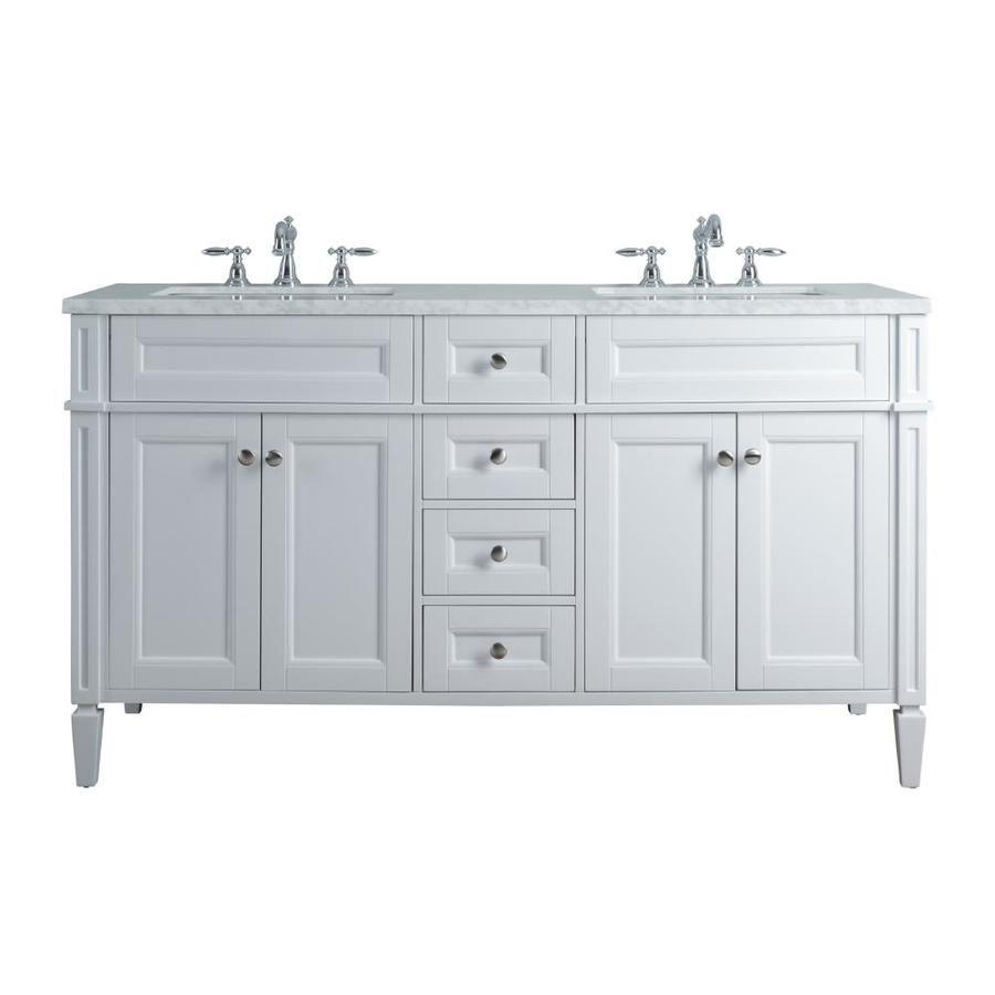 Stufurhome 60 In White Double Sink Bathroom Vanity With Carrara White Natural Marble Top Hd 1524w 60 Cr In 2020 Double Sink Bathroom Bathroom Sink Vanity Double Sink Vanity