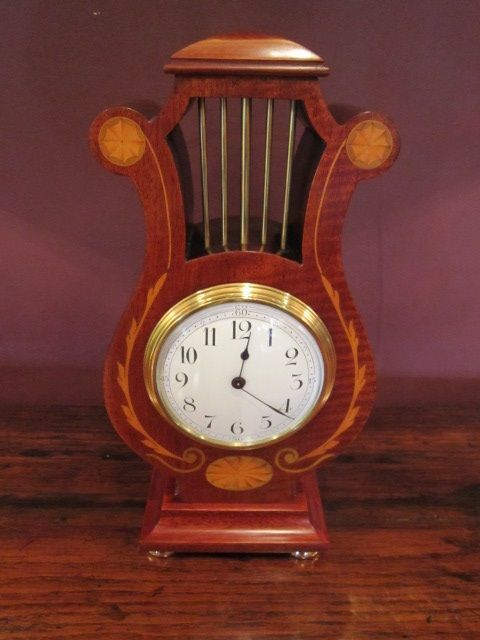 SUPERB EDWARDIAN PERIOD SHERATON INLAID LYRE SHAPED MANTEL CLOCK #edwardianperiod