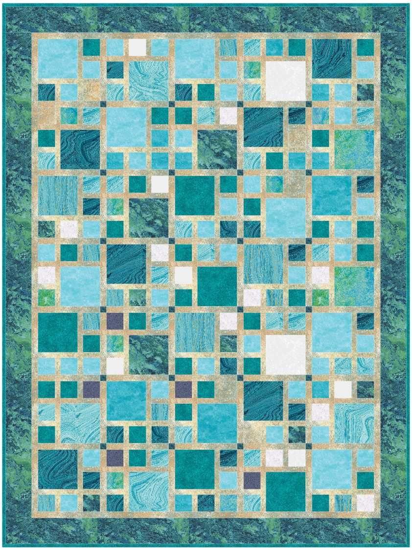 Blue green city quilt