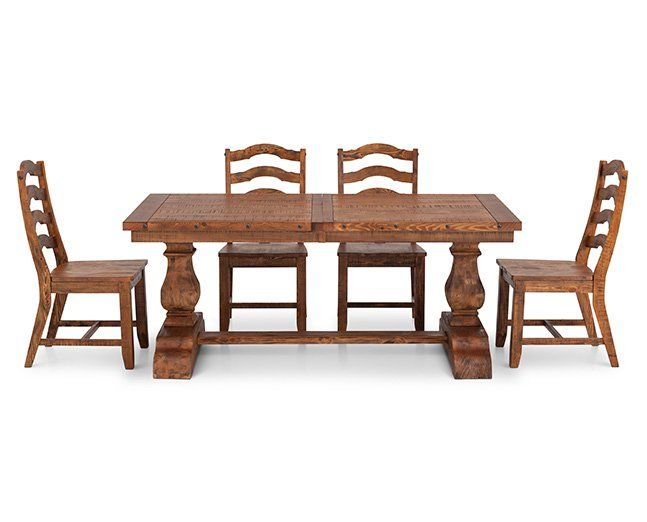 Bellisario 5 Pc Rectangle Ladder Back Dining Room Set Furniture Row