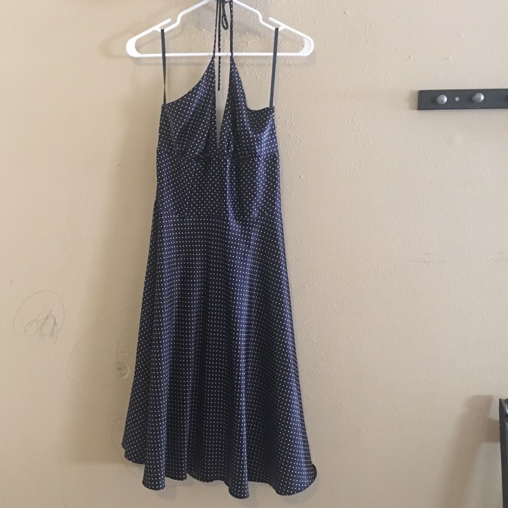 Classic navy knee length polkadot dress products