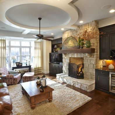 Family Room Refinished Brick Fireplace Design, Pictures, Remodel