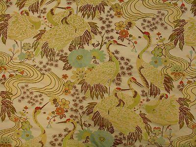 Egret Crane Bird Floral Vibrant Tapestry Upholstery Fabric