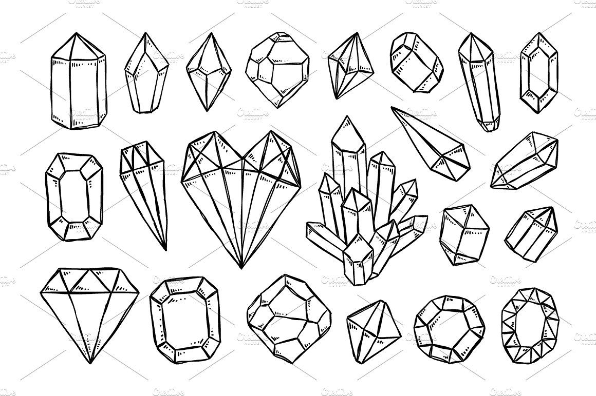 Crystals And Gems Illustrations Crystal Drawing Bullet Journal Ideas Pages Bullet Journal Themes