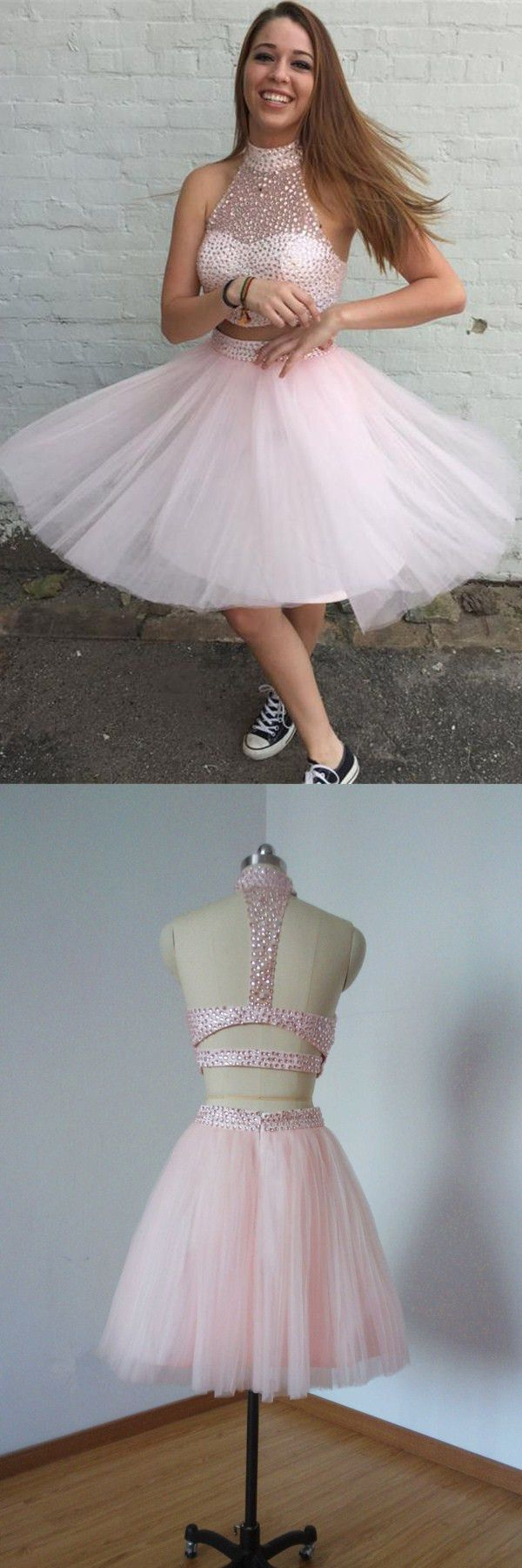 Two piece high neck open back beading pearl pink homecoming cocktail