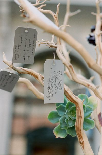 Wishing Tree - Guests can write sweet messages for the couple! I could spray paint some branches gold or white?