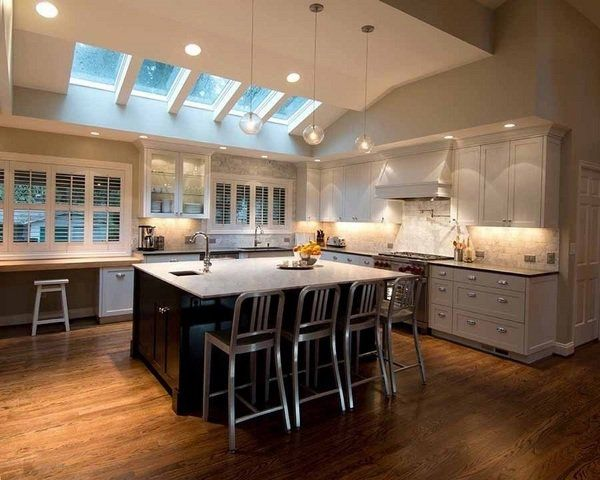 kitchen spot lighting. Vaulted Ceiling Lighting Skylights Recessed Mini Pendants Spot Lights Kitchen