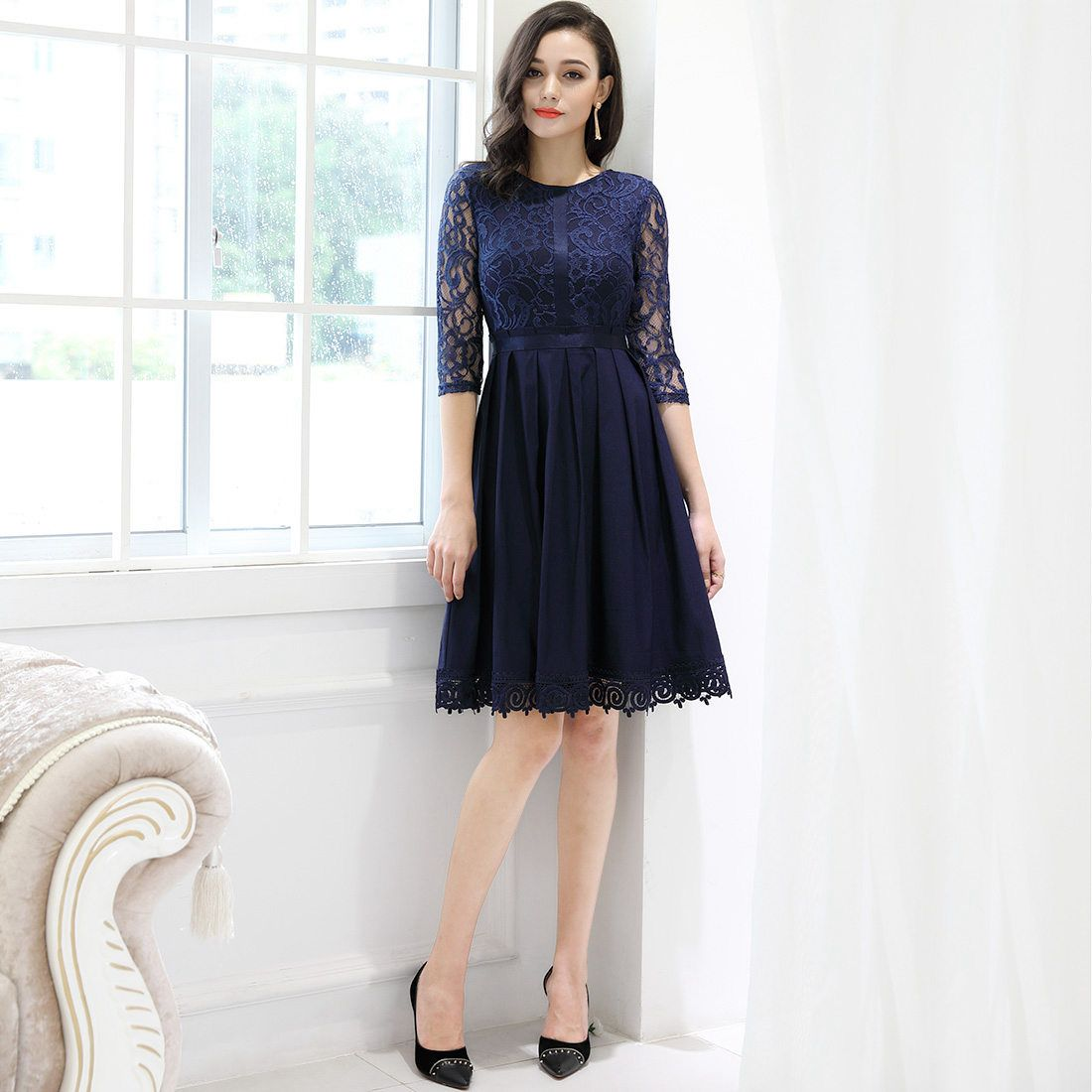 9b977c7e5575 MIUSOL Women's Vintage Half Sleeve Floral Lace Cocktail Party Pleated Swing  Dresses for Women (Navy Blue L)#Sleeve, #Floral, #Lace