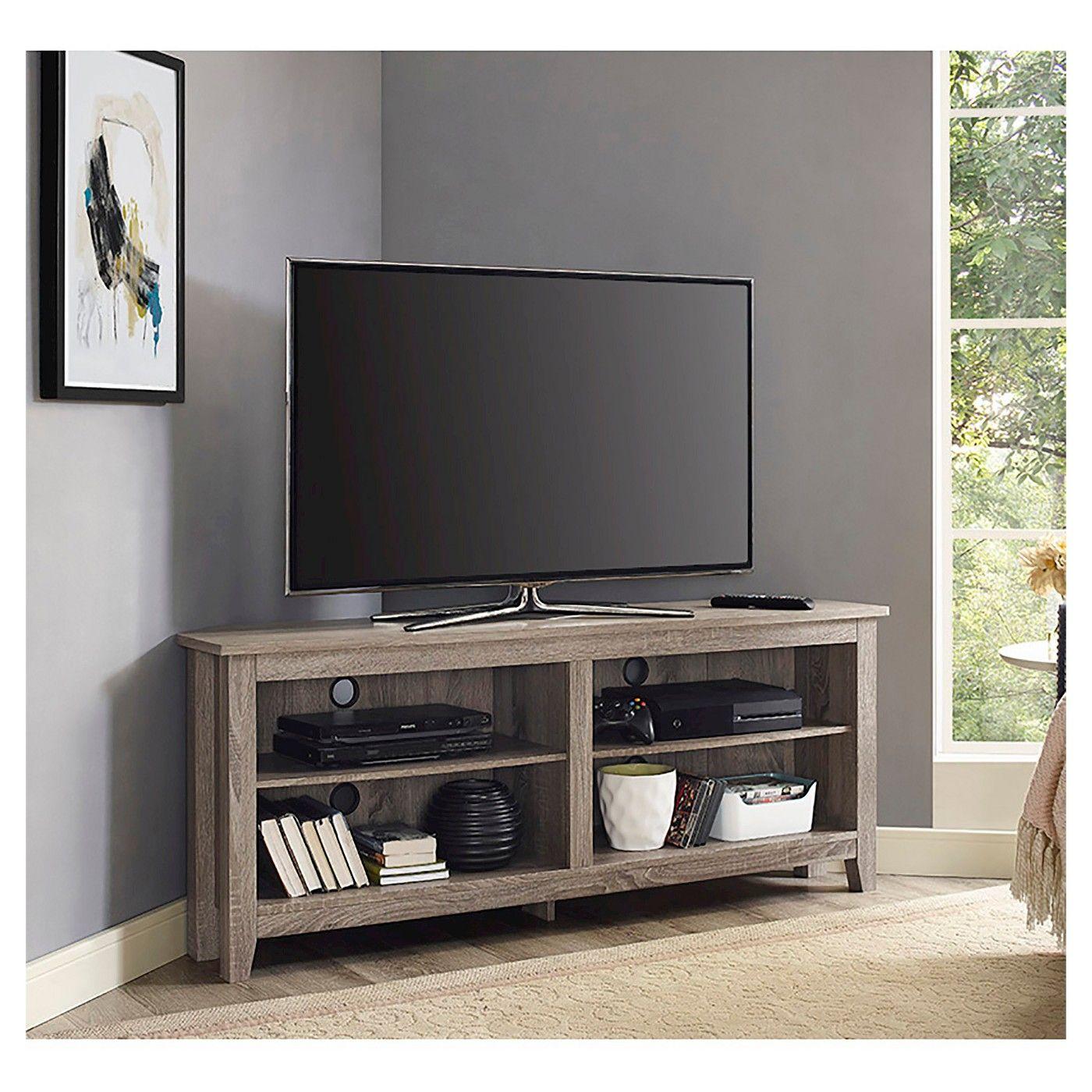 Simple Open Storage Shelf Corner Tv Stand For Tvs Up To 65 Driftwood Saracina Home Corner Tv Stands Wood Corner Tv Stand Corner Tv Stand