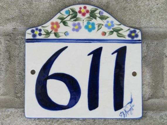 Custom Hand Painted Ceramic House Number Tile By