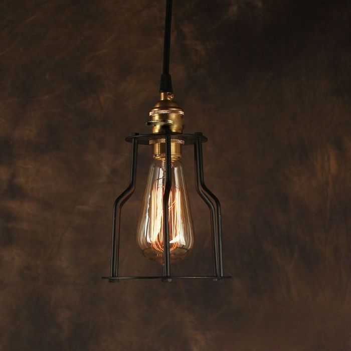 Vintage Pendant Light Industrial Edison Lamp American Style Copper Base With Cage RH Loft Coffee Bar Restaurant Kitchen Lights