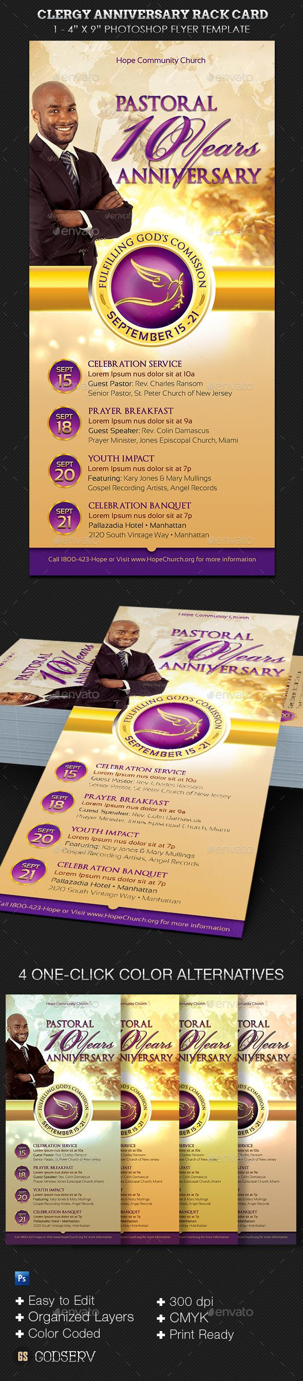 Clergy Anniversary Rack Card Template Yes Photoshop PSD - 4x9 rack card template
