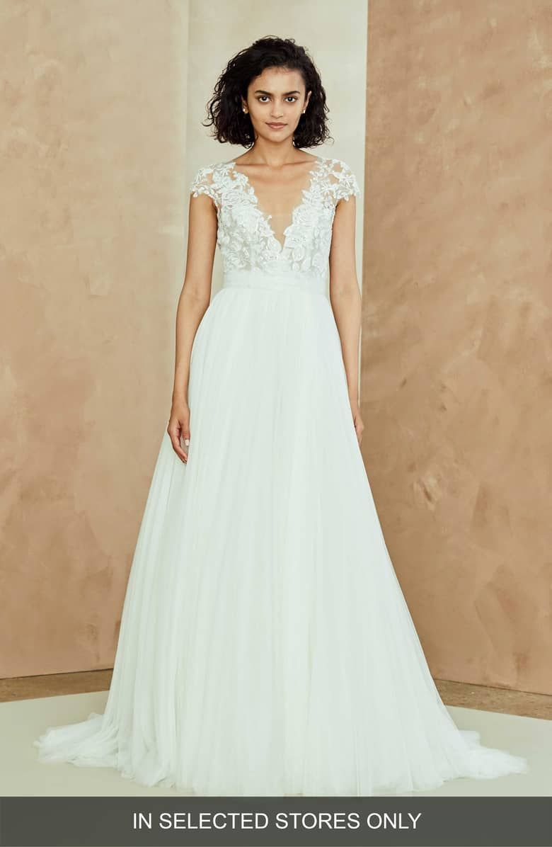 Color embroidered wedding dress  Danielle Embroidered Tulle ALine Gown Main color Ivory  evening