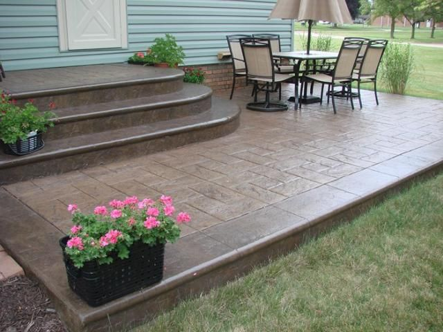Stamped Concrete Steps | Intermediate Step With California Weave |  Deco Crete Supply