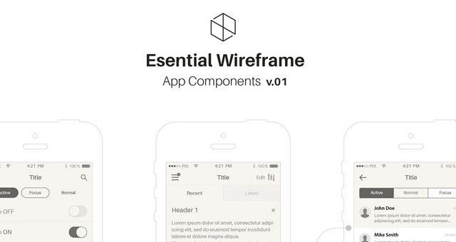 Mobile iOS Wireframe App Stencil v1