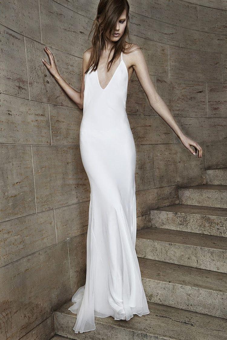 9f4038a870e22 Simple slip wedding gown from Vera Wang | Wedding | Minimalist ...