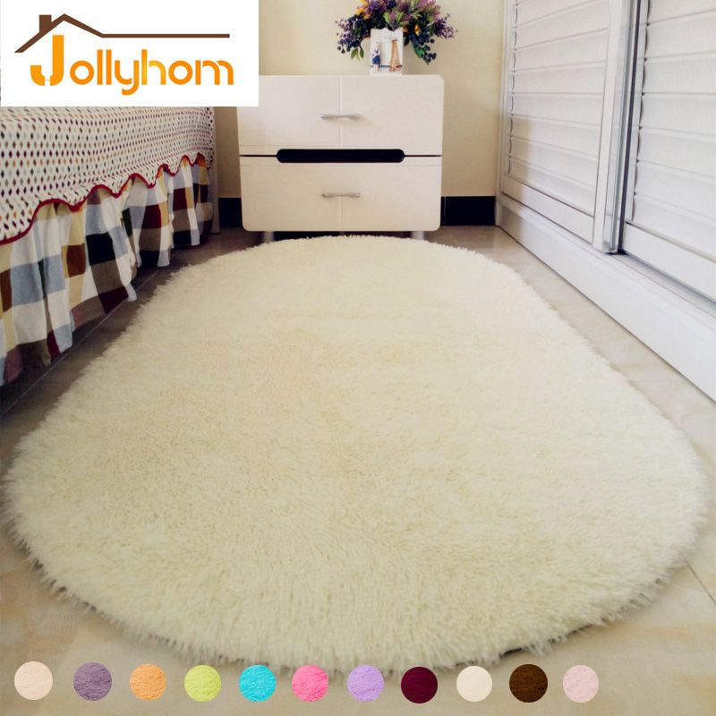 Solid Color Ellipse Carpet Mat Long Hair Gy Soft Area Rug Bedroom Living Room Anti Slip