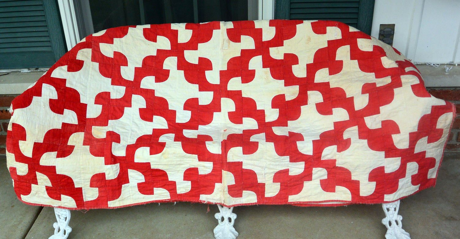 1960's Quilt, Red & White - Hand Made, Cotton - Vintage - Fabulous! by YPSA on Etsy