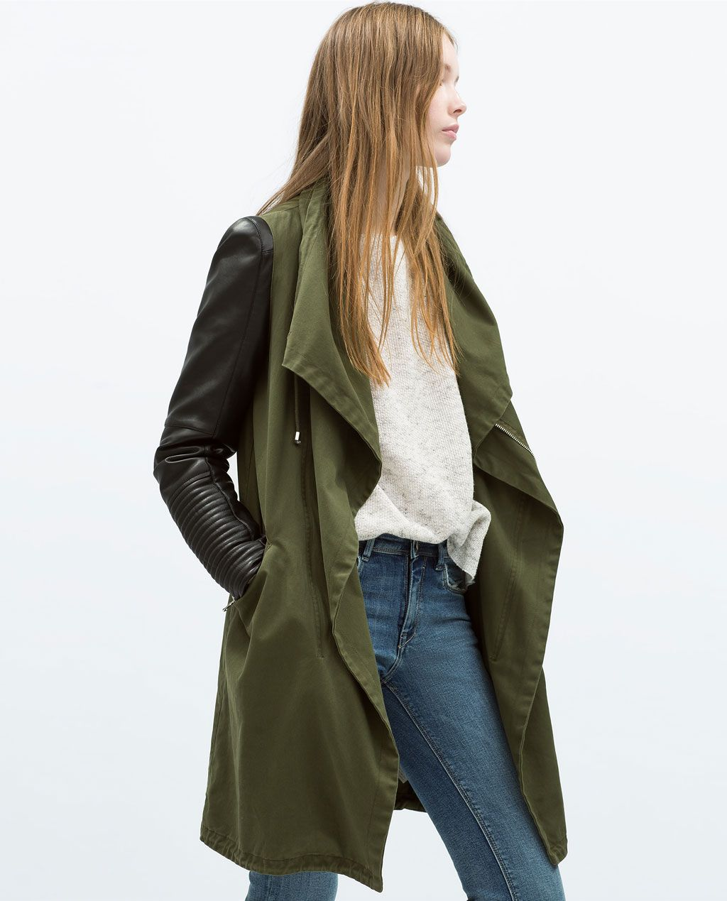 Image 2 of OVERCOAT WITH FAUX LEATHER SLEEVES from Zara