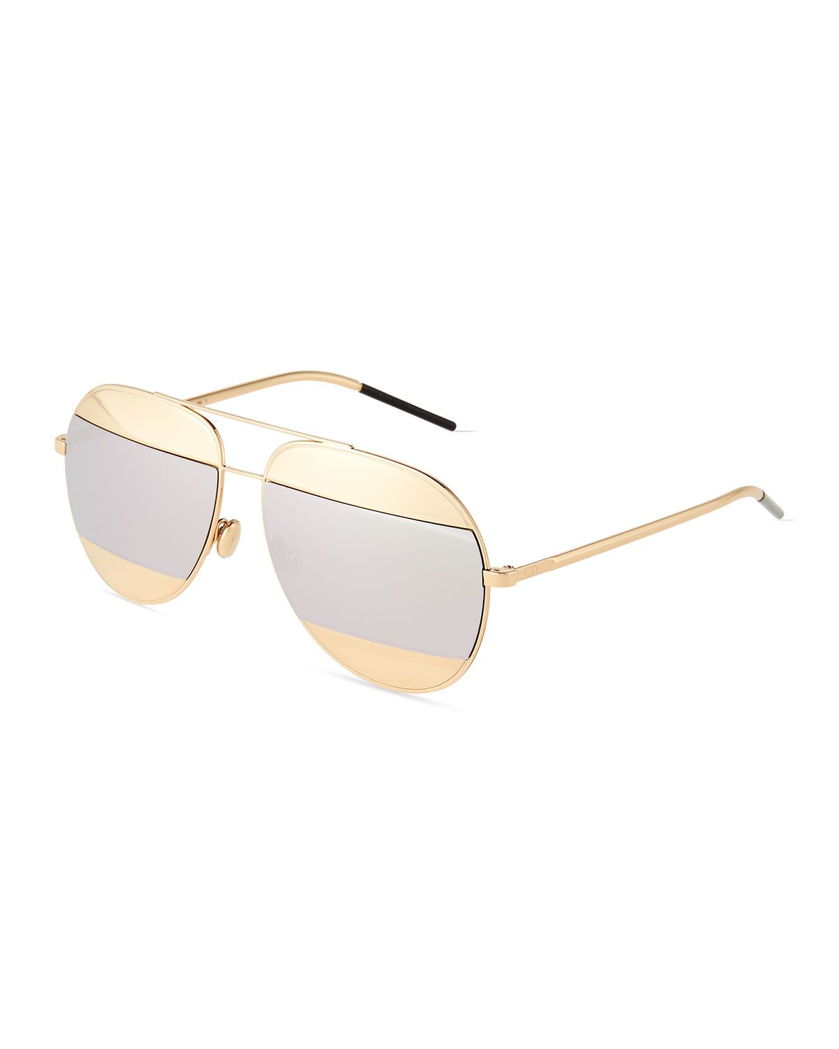 681dbca20ba DiorSplit Two-Tone Metallic Aviator Sunglasses