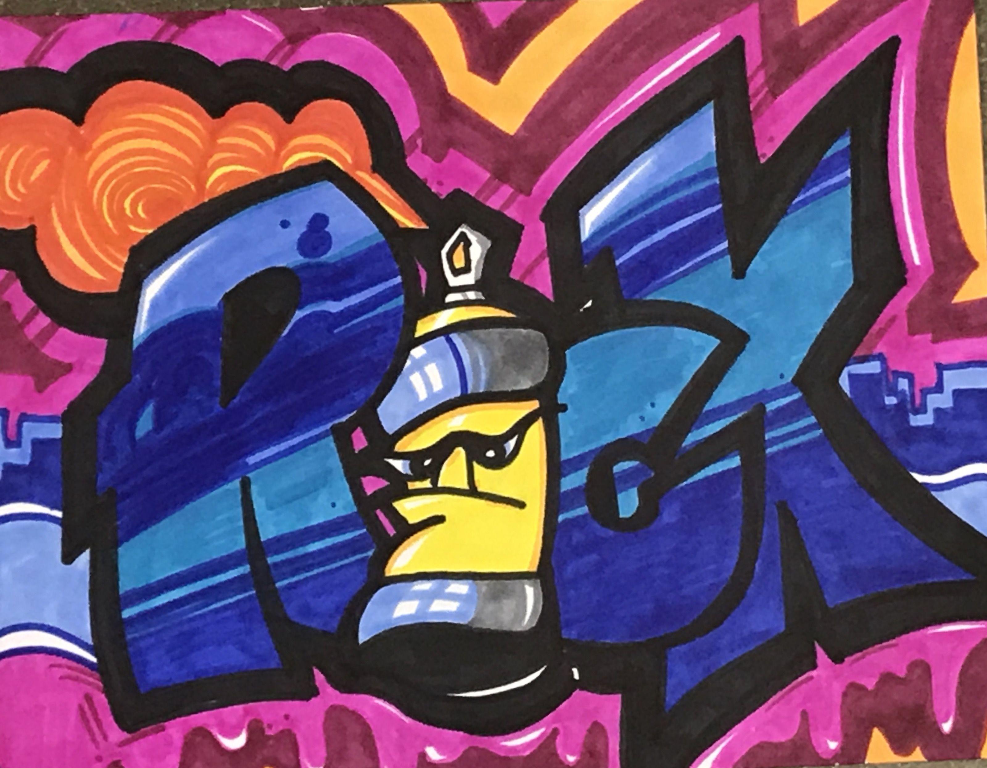 Graffiti name art rick by graffiti art lesson at corsicana middle school in corsicana texas