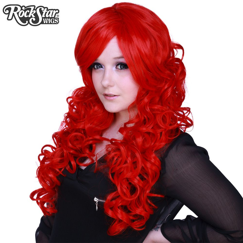 """Cosplay Wigs USA™ <br> Curly 70cm/28"""" - True Red -00313"""