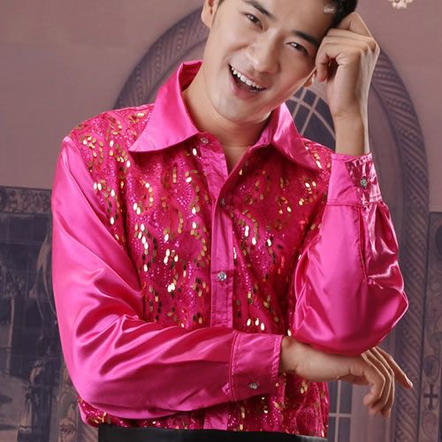 Best Men Pink Sequin Wedding Prom Formal Dress Shirt Clothing SKU ...