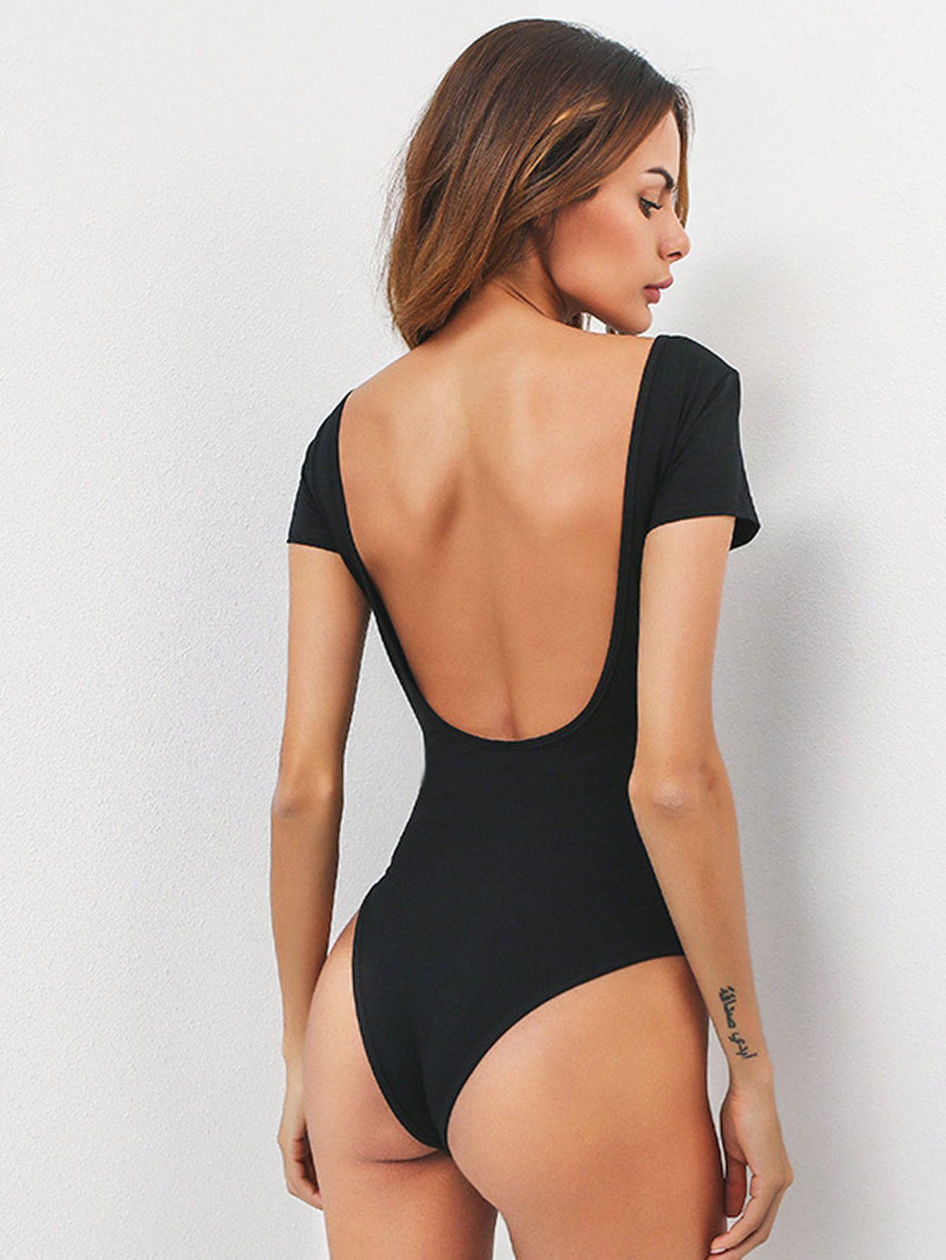 U Neck Backless Bodysuit