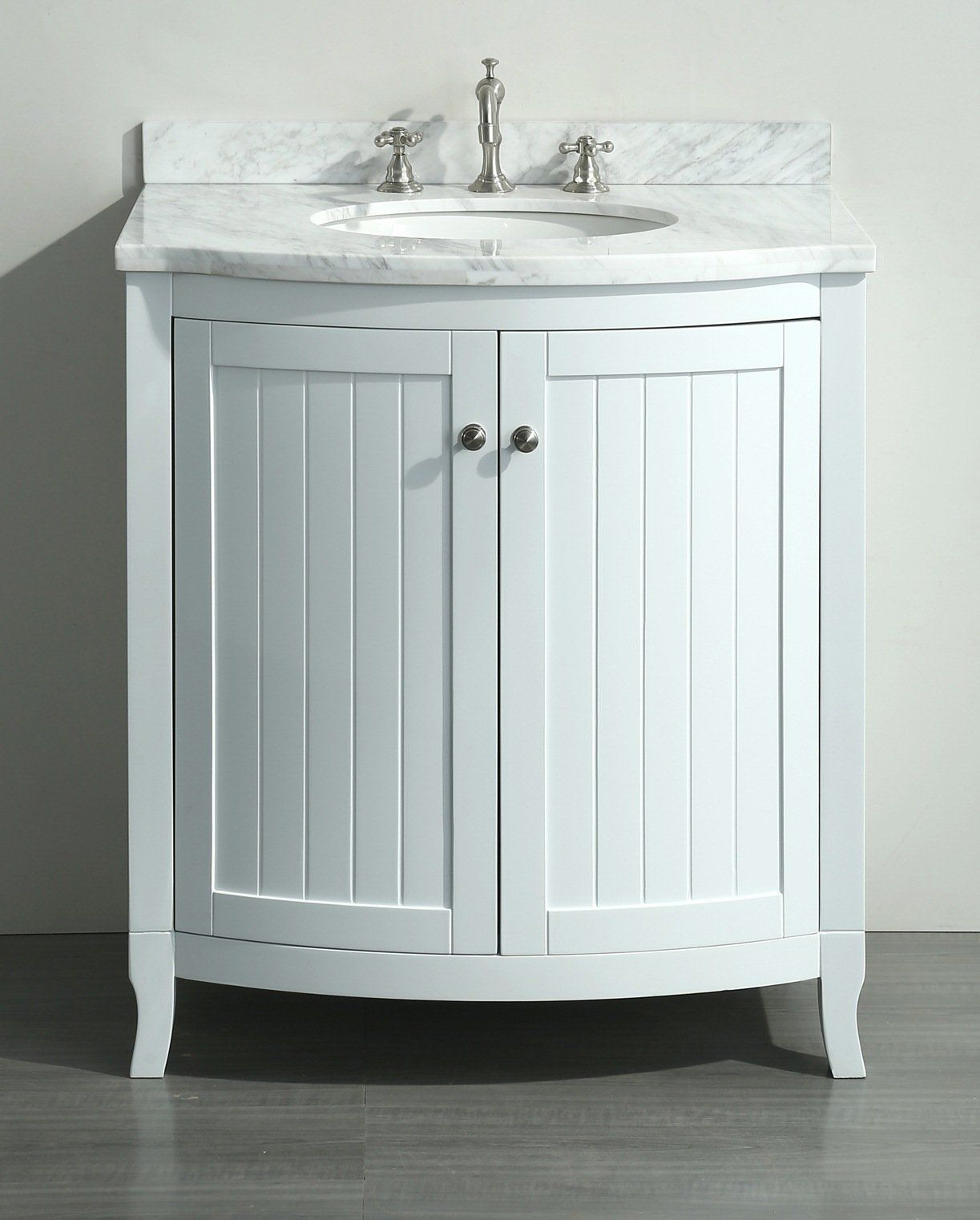 White 30 Inch Bathroom Vanity White Carrera Marble Top