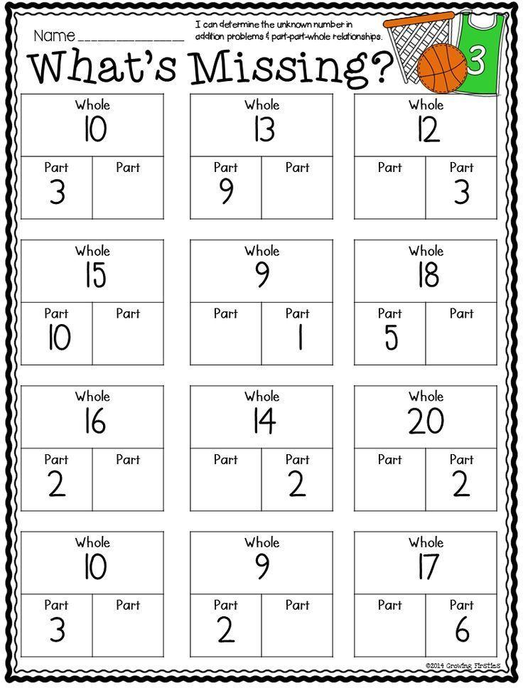 Part Part Whole And March Printables  Math Basics  Math, Part Part Whole, Common Core Math