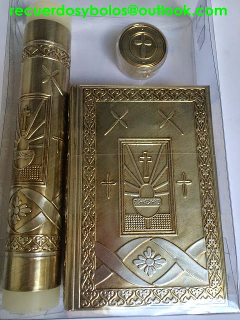 04251fd3b92 Set de Biblia con Vela y Rosario para Primera Comunion 380.00 virgencita  dorada set de Biblia