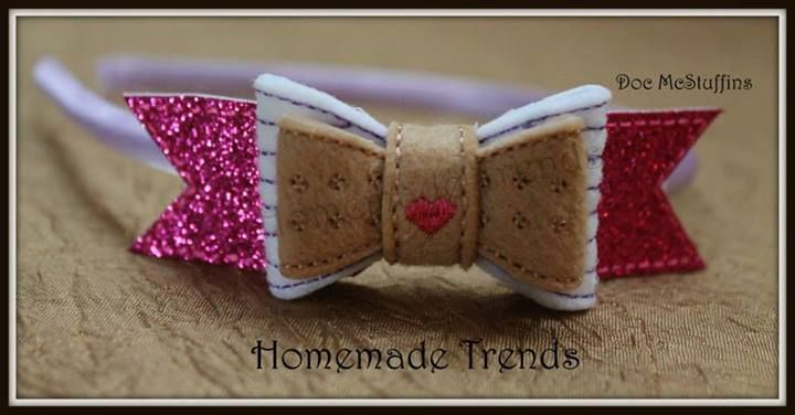 """$6.00 clip or stretch headband/$6.50 clip & stretch headband/$7.50 hard headband  Doc McStuffins Inspired 3D Bow  2 available (preorders available) 4"""" x 1"""" You choose your hardware! (picture of hardware examples in this album) ~single or double prong alligator clip ~alligator clip with teeth ~stretch headband ~satin hard headband"""