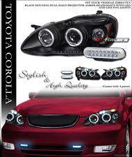Blk Halo Projector Head Lights Drl 16 Led Per Fog Lamps 03 08 Toyota Corolla