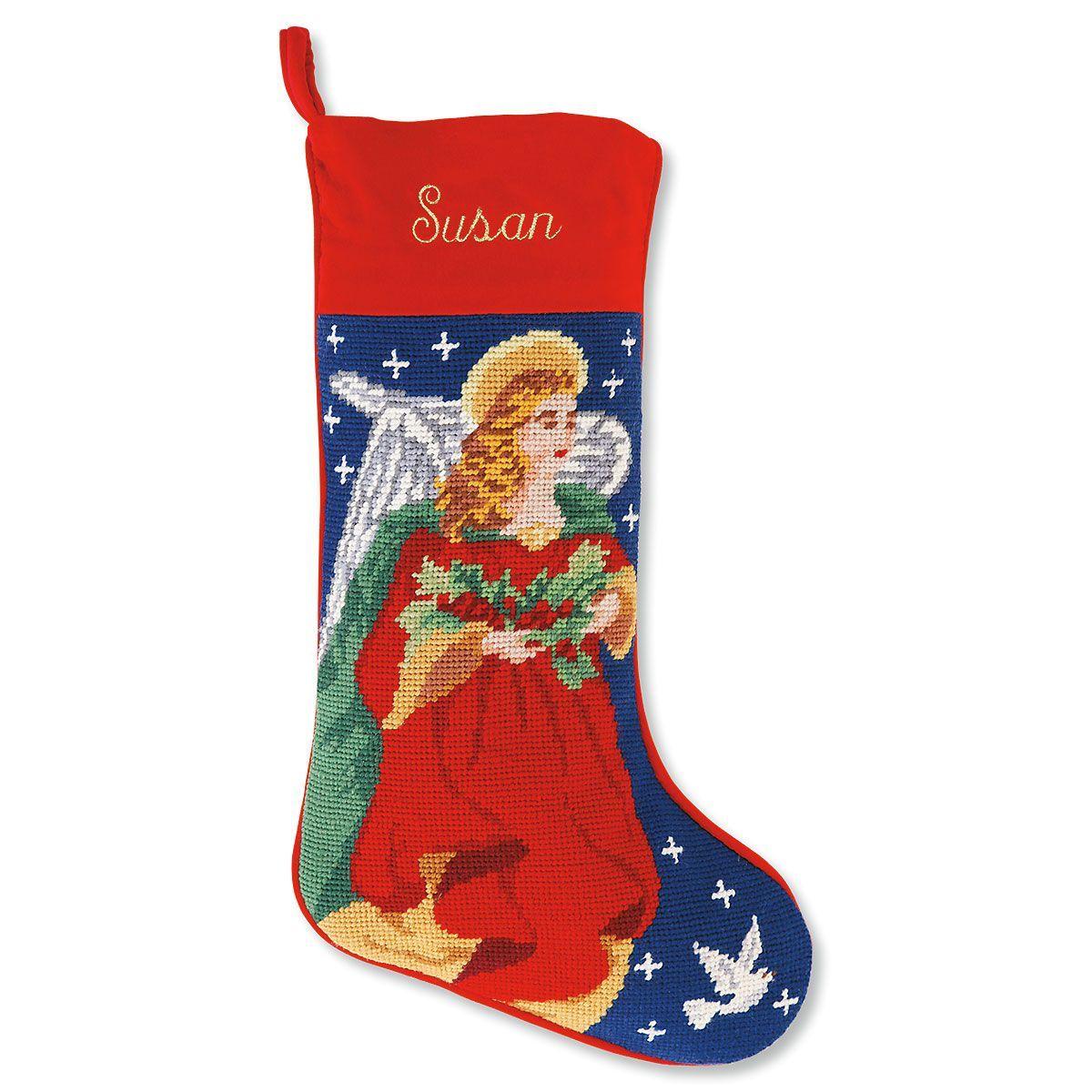 Angel Heirloom Needlepoint Personalized Christmas Stocking